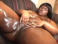 Splendid chocolate fatty taking up cock